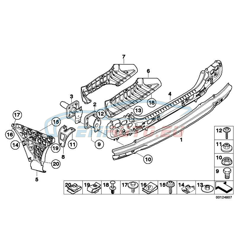 Оригинал BMW Кронштейн бампера Зд (51127033712)