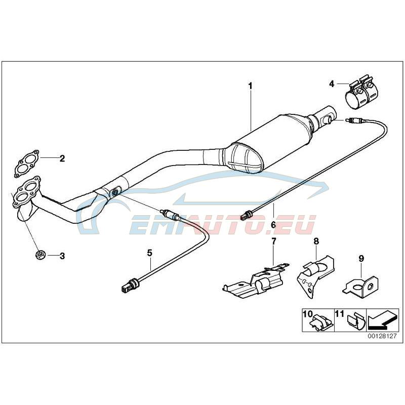 Оригинал BMW Передний дополнительный глушитель (18101438088)
