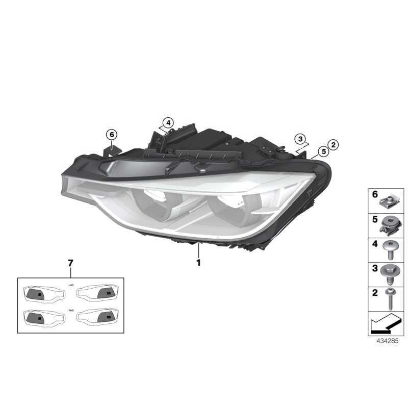 Genuine BMW Headlight, LED technology, right (63117419634 ...