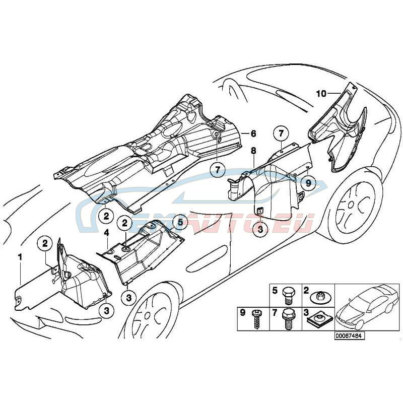 Оригинал BMW Теплоизоляция переднего лонжерона Л (51488234105)