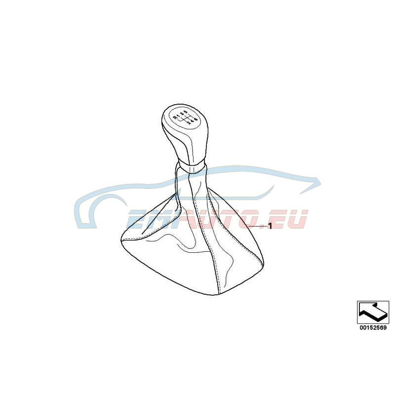 Оригинал BMW Головка рычага ПП кожа/хром/6-ст.КПП (25110412092)