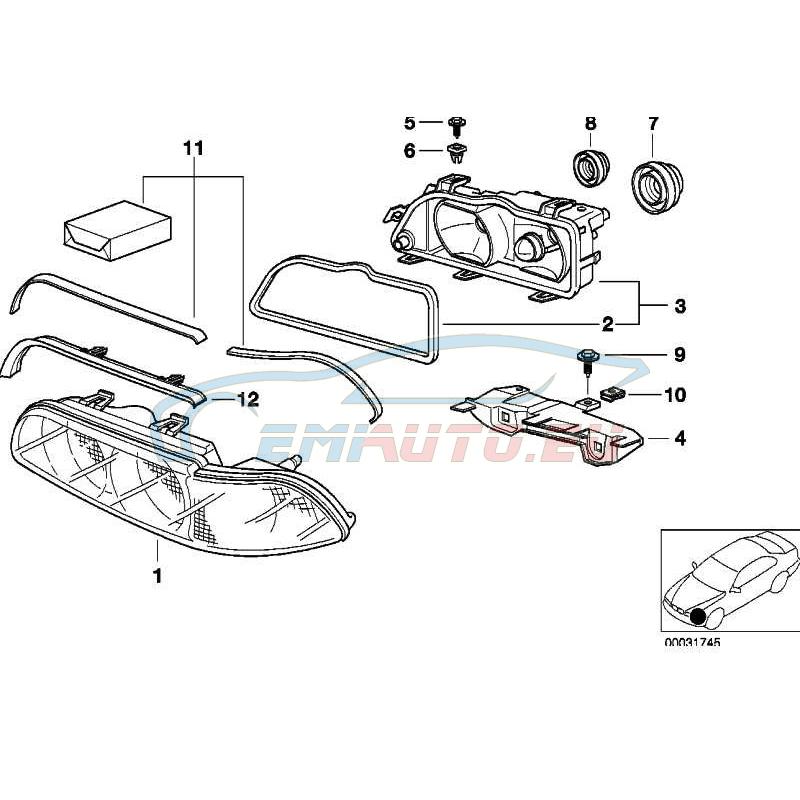 Оригинал BMW Защитное стекло П (63128370886)