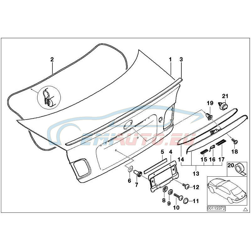 Оригинал BMW Ручка багажной двери с кнопкой окрашенн (51130403477)