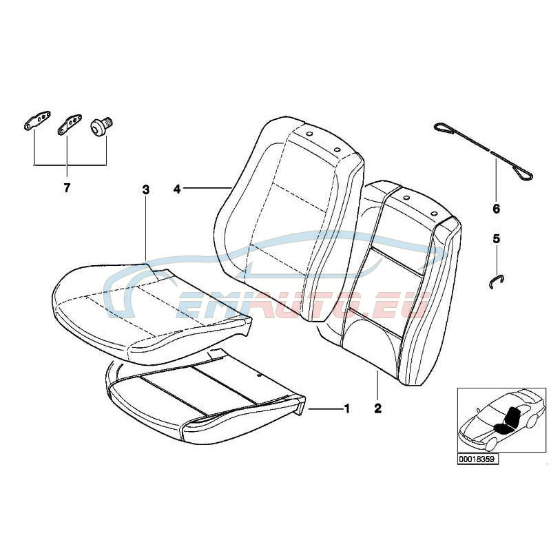 Оригинал BMW Обивка подушки (52108234895)