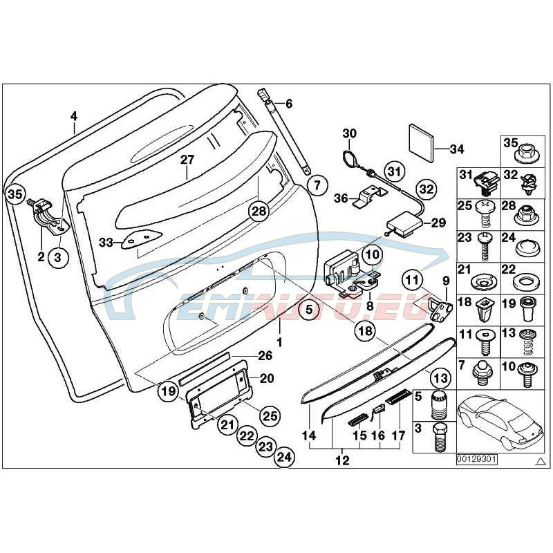 Genuine Mini Micro switch, trunk lid key button (51477114536)