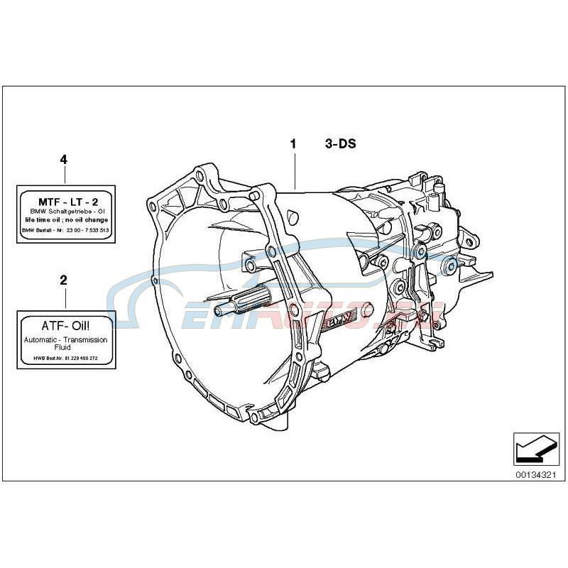 Оригинал BMW Оборотная 5-ступенчатая КПП (23001434485)