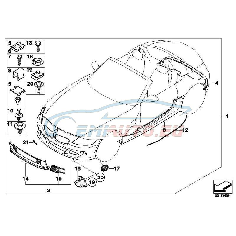 Оригинал BMW Задний фартук грунтованный (51120150782)