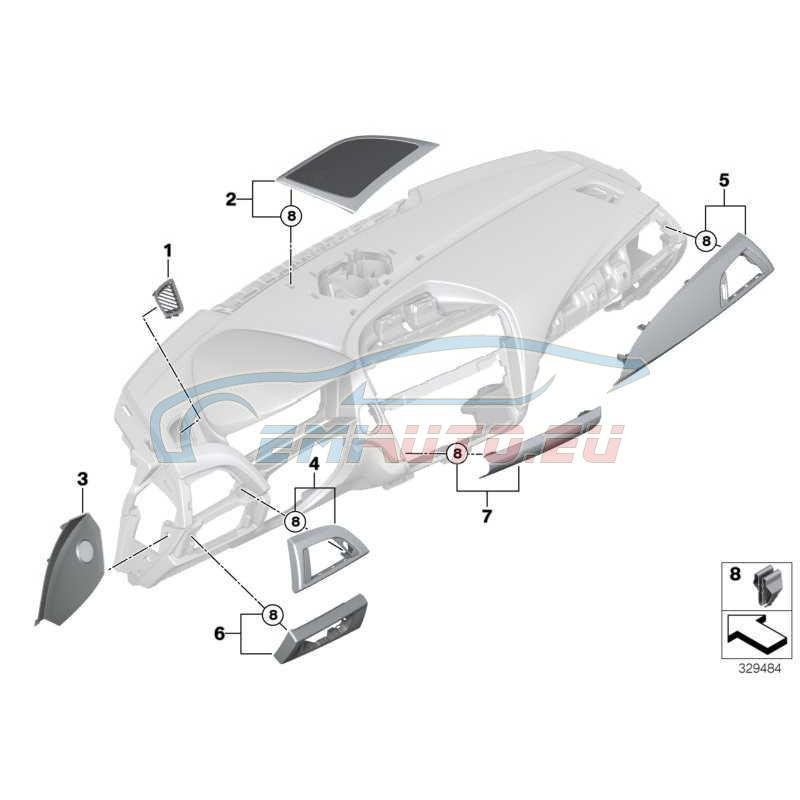 Original BMW Blende I-Tafel Fineline Stream Beifahrer (51459205378)