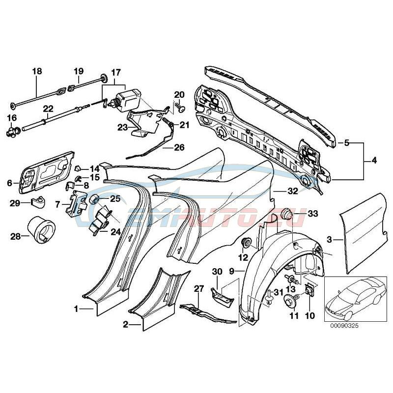 Оригинал BMW Облицовка задка в сборе (41348205601)