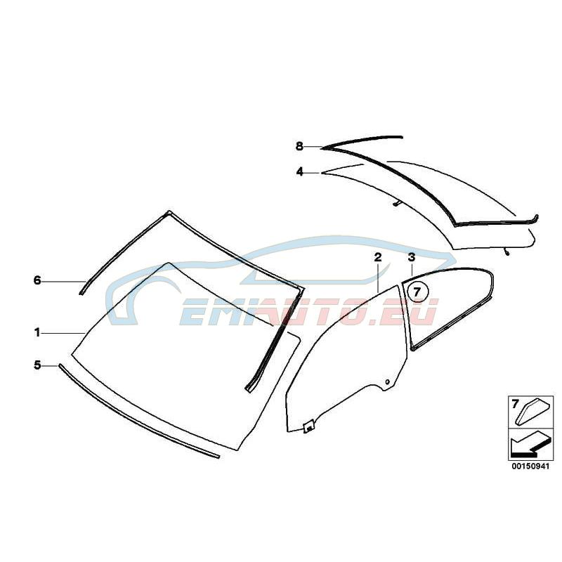 Оригинал BMW Лоб.стекло ИК, серая полоса, д-к дождя (51317192983)