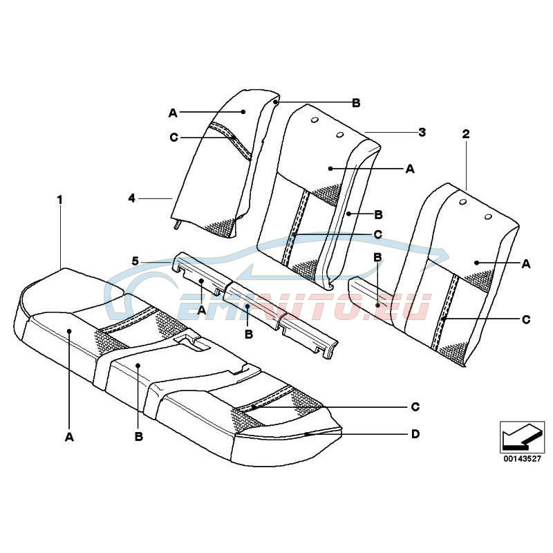 Оригинал BMW Обивка сиденья кожа Зд (52208029964)