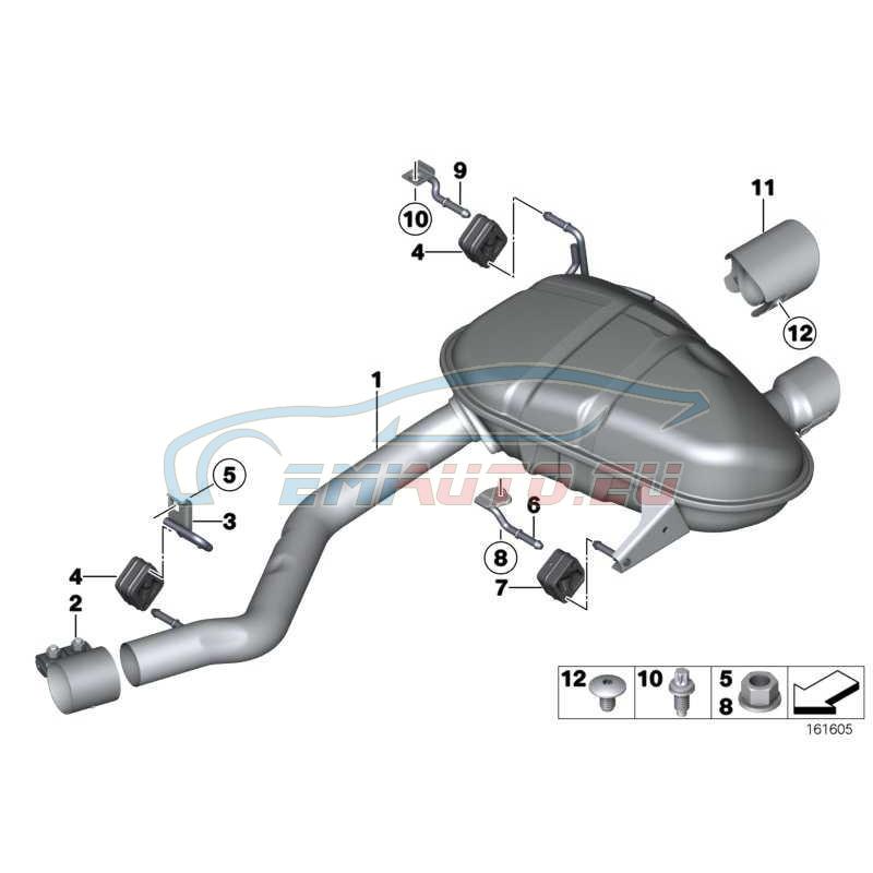 Оригинал BMW Задний дополнительный глушитель (18307567693)