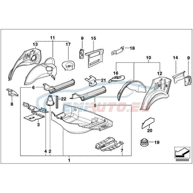 Оригинал BMW Пол багажного отделения (41128122351)