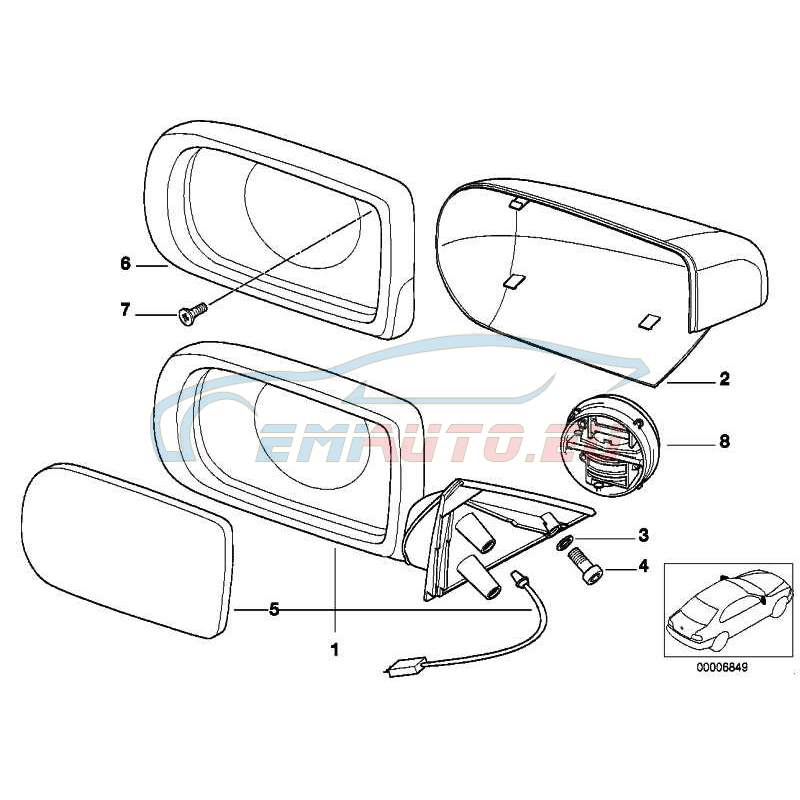 Original BMW Spiegelglas beheizt plan links (51168209809)
