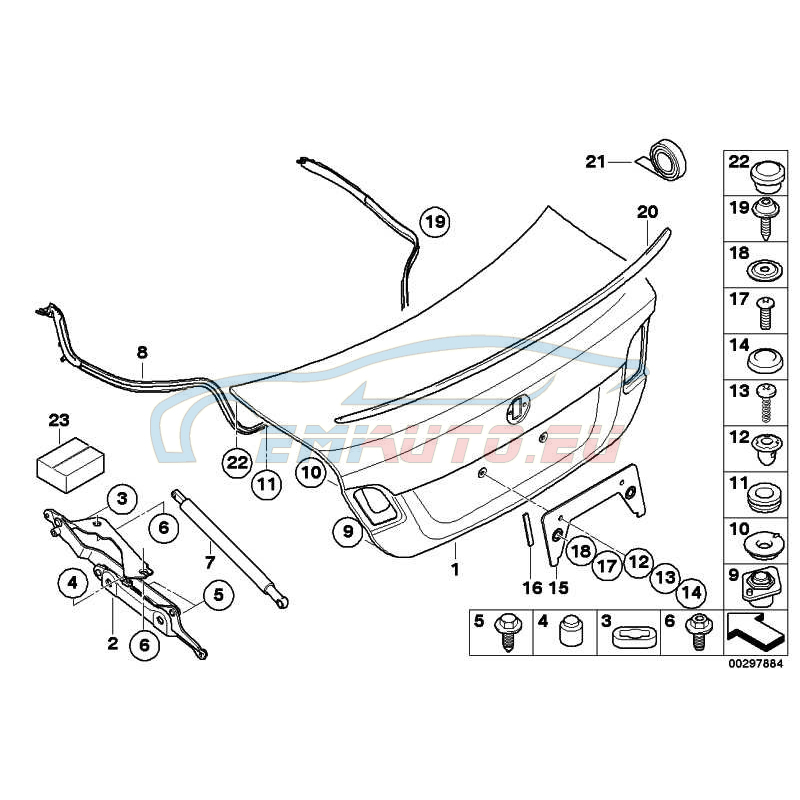genuine bmw tailgate with hole for lock barrel 41627181144