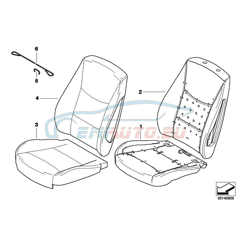 Оригинал BMW Обивка подушки базового сиденья кожа (52107247223)