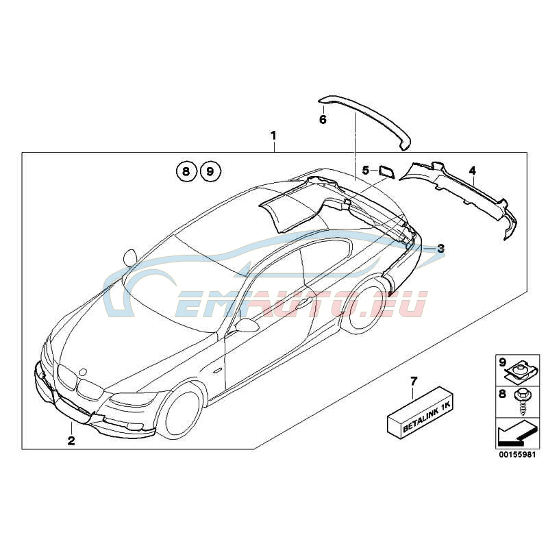 Оригинал BMW Насадка для облицовки Пд (51110414372)
