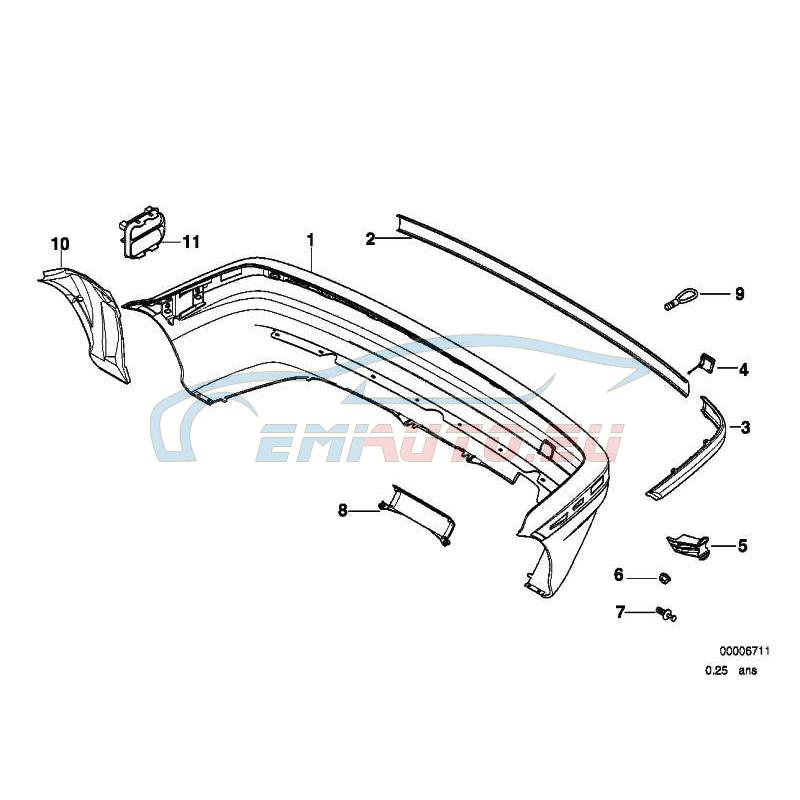 Оригинал BMW Облицовка бампера Зд частичн.окрашенная (51129070175)