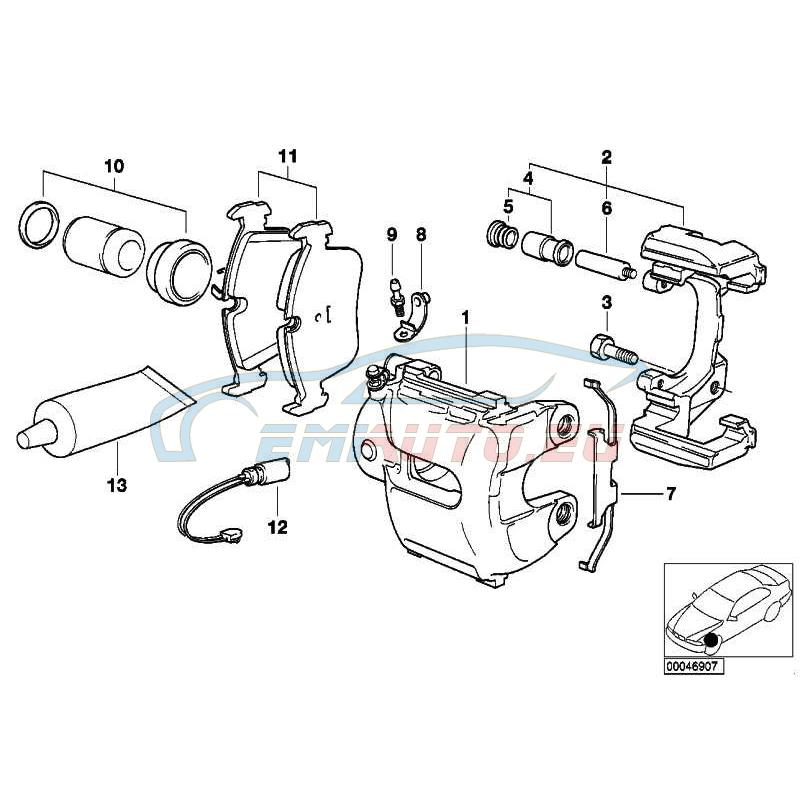Оригинал BMW Направляющая тормозных колодок (34112282619)