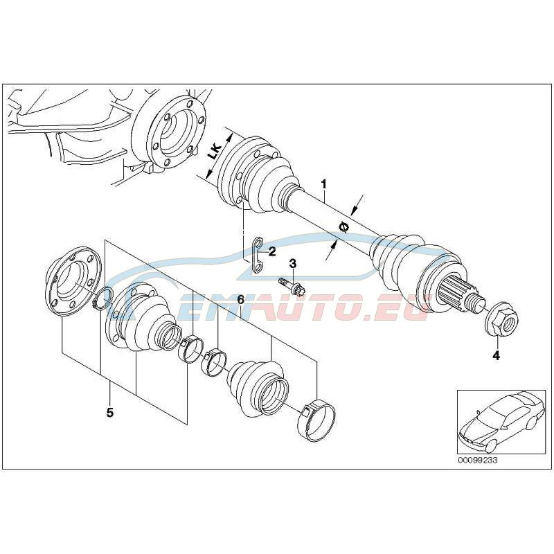 Оригинал BMW Оборотный приводной вал колеса Л (33217547069)