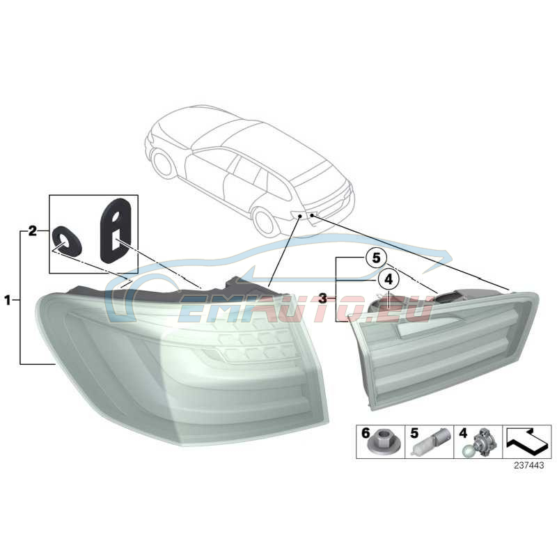 Оригинал BMW Блок задних фонарей на крыле Л (63217203233)