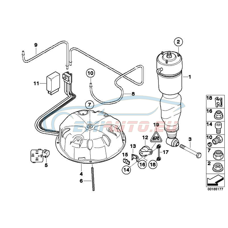 Оригинал BMW Пневмоамортизатор Зд (37121092908)