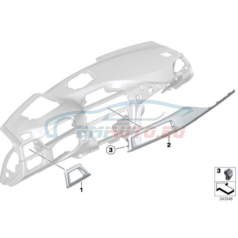 Оригинал BMW Blende I-Tafel Nussbaumwurzel links (51459231230)