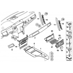 Genuine BMW Decor panel for centre console,aluminium (51167059944)