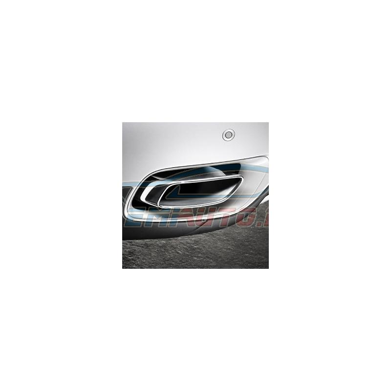 Genuine BMW Set, tailpipe trims, chrome (18302185389)