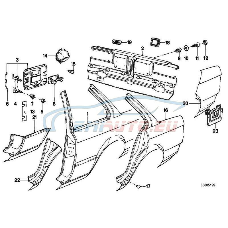 Genuine BMW SECTION OF REAR LEFT FENDER (41351961521)