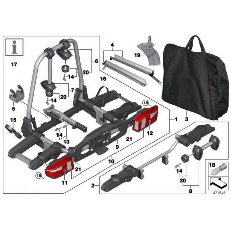 genuine bmw rear bike rack pro 2 0 82722409510. Black Bedroom Furniture Sets. Home Design Ideas