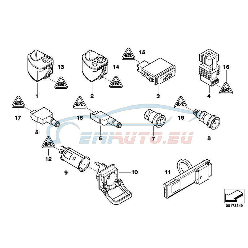 Original BMW Schalter Spiegelverst./ Anklappfunktion (61318373689)