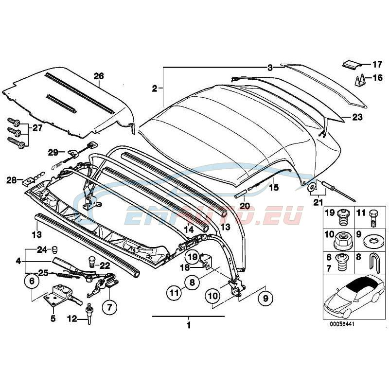 Original BMW Heckscheibe mit Reissverschluss (54318401027)