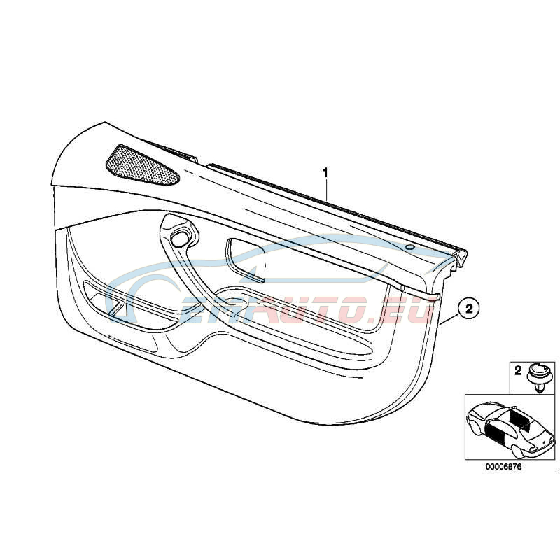 Genuine BMW DOOR LINING LEATHER RIGHT (51418401168)