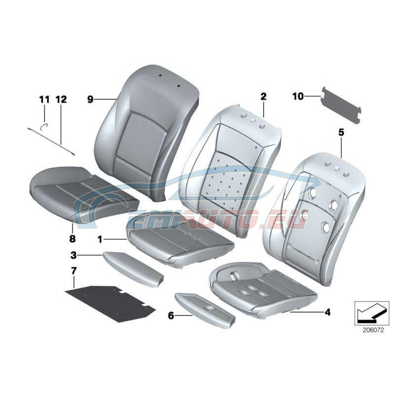Оригинал BMW Обивка подушки базового сиденья кожа (52107230645)